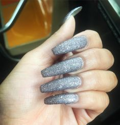 glitter with silver long nail