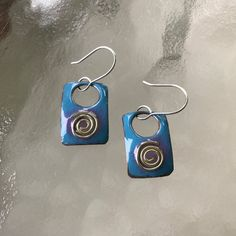 Silver Swirl Enameled Copper Earrings by CharmingLaneGlass on Etsy
