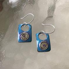 Silver Swirl Enameled Copper Earrings by CharmingLaneGlass on Etsy