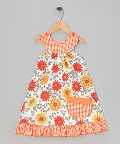 Take a look at this Orange Daisy Trapeze Dress - Toddler & Girls by Ruby & Rosie on #zulily today!