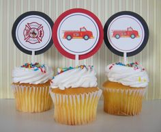 Cupcake Toppers (Red & Black scheme)