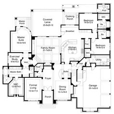 #floorplan #twofloor First Floor Plan of Mediterranean   Tuscan   House Plan 65884