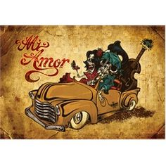 Mi Amor by David Lozeau Tattoo Art Canvas Print. David Lozeau has a character-driven style that is a quirky blend of Mexican folk art, 1950s cartoon-cell animation, traditional tattoo imagery, and pure Southern California lowbrow.