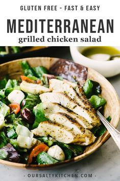 This grilled mediterranean chicken salad is the perfect summer meal for busy families! Chicken breasts are marinated in a lemon herb brine, then grilled and topped over a mixed green salad with olives, artichoke hearts, fresh mozzarella, and a zesty oregano vinaigrette. It's an easy, healthy, gluten free dinner salad that's packed with bold flavor. #salads #healthy #healthyrecipes #chicken #dinner #grilling #glutenfree #grainfree Clean Dinner Recipes, Clean Dinners, Clean Eating Dinner, Grilled Chicken Salad, Grilled Chicken Recipes, Baked Chicken, Healthy Salad Recipes, Whole Food Recipes, Diet Recipes