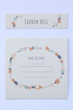 Floral Chain Cream - Save The Date & Name Card
