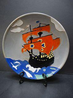 Catalina pottery black Spanish Galleon decorative plate
