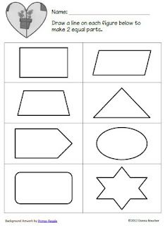 Card sorting game for finding equal halves with free printable (shown)
