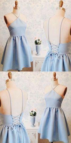 blue homecoming dresses,short homecoming dresses,satin homecoming dresses,045