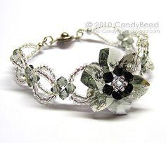 Sparkling Black Diamond Flower Swarovski Crystal Bracelet by CandyBead