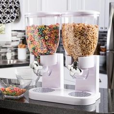 Honey-Can-Do Double White Cereal Dispenser with Portion Control – The Home Depot Honey-Can-Do Double Cereal Dispenser with Portion Control, White Kitchen Organization Pantry, Kitchen Pantry, Kitchen Storage, Kitchen Appliances, Food Storage, Cereal Storage, Kitchen Tools, Organization Ideas For The Home, Kitchen Set Up