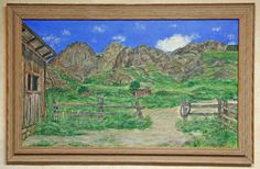 "Photo: ""The Livery""  Painting by Will James of the livery area for Van Patten Mountain Camp. Dripping Natural Area in the Organ Mountains east of Las Cruces, New Mexico. Acrylic on canvas 18 x 30 inches"
