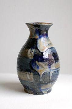 cobalt striped vase by ralph nuara on Etsy, $54.00