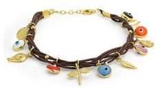 Bling Jewelry Evil Eye Charm Brown Leather Sterling Sliver Braclete 7 Inches.