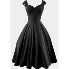 Black Plain Pleated Audrey Hepburn Style Swing V-neck Fashion Vintage... ❤ liked on Polyvore featuring dresses, black dress, vintage black dress, vintage dresses, vintage cocktail dress and black midi dress