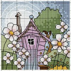 'Garden Shed' from Michael Powell's 'Mini Cross Stitch' book (paperback, pub. Search Press). There are twenty to make and they are all very quirky and appealing. I have made most of the pictures in this book for someone or other and they are a real pleasure to work on. My attempt at this design can be found at https://uk.pinterest.com/pin/504614333230834533/