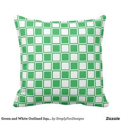 Green and White Outlined Squares Throw Pillow