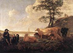Cuyp, Albert, Paysage près de Rhenen, vers 1650, huile sur toile, 229 x 170 cm, Musée du Louvre, Paris, France