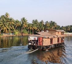 In a houseboat on the backwaters of Kerala.