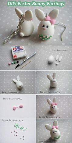 Tuto Fimo Easter - Boucles d& lapin . - Working with Clay Cute Polymer Clay, Polymer Clay Animals, Polymer Clay Projects, Polymer Clay Charms, Polymer Clay Creations, Polymer Clay Earrings, Clay Crafts For Kids, Kids Clay, Easy Crafts