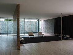 Mies van der Rohe, Barcelona Pavilion: marble and travertine, big windows