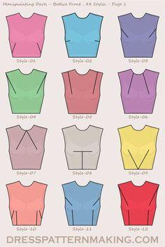 Manipulating Darts Bodice Front - Pattern fashion - Source by vicmaisheppe fashion sewing Sewing Basics, Sewing Hacks, Sewing Tutorials, Sewing Projects, Sewing Lessons, Dress Tutorials, Fashion Sewing, Diy Fashion, Ideias Fashion