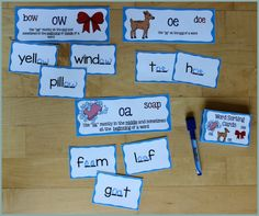 Activities for Teaching the oa/ow/oe Digraphs - Make Take & Teach Oa Words, Words To Spell, Creative Curriculum Preschool, Kids Learning Activities, Teaching Ideas, Word Patterns, Spelling Patterns, Free Spelling Games, English Phonics