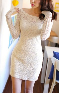 White See-through Crew Neck Long Sleeves Lace Club Dress