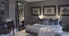 Sophie's guest bedrooms are equally as plush and feature mahogany wood, neutral cushions a...
