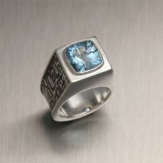 Tonga Collection - Mens Jewelry - Fabricated - John S. Brana - Precious Metal Clay - Blue Topaz - Ring - PMC