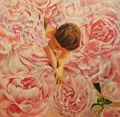 """High-quality Hand-painted Oil Painting - Modern Wall Decor Art by Patrycja Lewicka. pink peonies in an enchanted garden"""""""