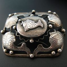 Modernist Scandinavian Fish Brooch Erikson & Kromann Denmark 830 Silver...