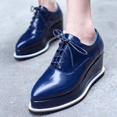 Plataforma de cuña para mujer Tacón medio Puntera Puntiaguda Con Cordones Zapatos De Salón Punk Oxford Roma