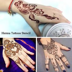 e121fca7a9339 1 Set Hot Hollow Temporary Henna Tattoo Stencils Templates Simply Mehndi  Flowers Patterns Fake Tattoos For