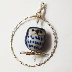 Handmade Wire Wrapped Perching Blue Owl Pendant In Sterling Silver and Gold by JujusNature on Etsy