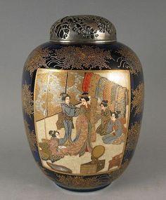 Japanese Antique Satsuma Koro By Kinkozan