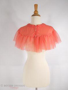 50s Vanity Fair Coral Nylon Capelet - sm, md