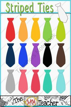 Striped Ties Clip Art Collection from The 3AM Teacher Designs on TeachersNotebook.com (16 pages)  - A fun set of striped tie digital graphics!