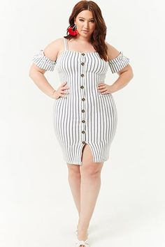 e20c897cb4915 Plus Size Striped Open-Shoulder Mini Dress
