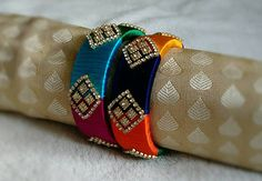 Your place to buy and sell all things handmade Silk Thread Bangles Design, Silk Bangles, Silk Thread Earrings, Bridal Bangles, Thread Jewellery, Silver Bracelets, Jewelry Crafts, Handmade Jewelry, Blue Orange