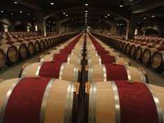 The amazing Robert Mondavi underground barrel cellar. I didn't count them but apparently there are 1200 French oak barrels. by providencehuntervalley Napa Valley Wineries, French Oak, Cellar, Brewery, Life Is Good, Places To Visit, Barrels, Explore, Amazing