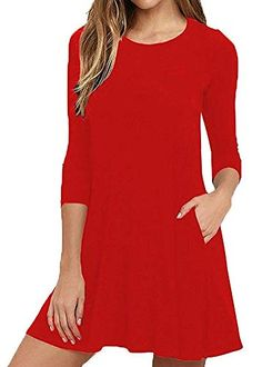6e92af93e BLUETIME Women Stretchy Flowy Loose Fit Tunic Dress for Casual Work  Cocktail Wine RedXXL    You can get more details by clicking on the image.