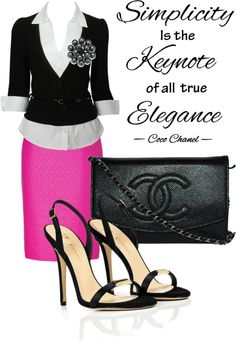 "Love! ""Simplicity is the keynote of all true elegance."" Minus the shoes"