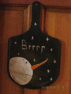 Primitive BRRR Snowman Paddle by CranberryCornstalk on Etsy