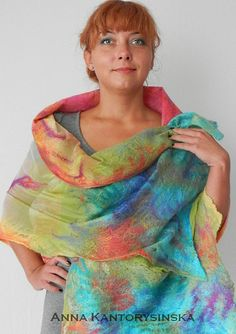 nuno felted silk scarf shawl wrap SUNRISE by kantorysinska on Etsy, $130.00
