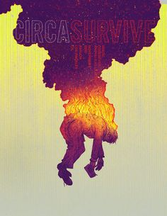 Circa Survive tour poster by Kevin Tong  | Tags: graphic design, abstract, man on fire, smoke, ombre