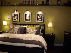 Ikea Room- I love the wall color contrasted with black and white and the lights over the pictures.