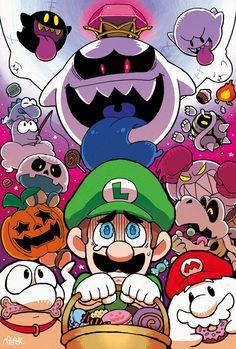 Luigi and the Undead Super Mario Bros, Super Mario Brothers, Mundo Super Mario, Super Smash Bros, Mario Kart, Video Halloween, Geeks, Mario Fan Art, King Boo