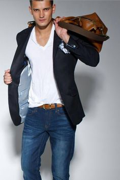Classic smart casual - can't go wrong with denim and white T dressed up with a blazer