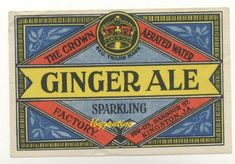 Jamaica Bottle Label Ginger Beer Ale Crown Aerated Mineral Water co Ginger Beer, Ale Beer, Mineral Water, Bottle Labels, Vintage Ads, Bottles, Ale, Vintage Advertisements