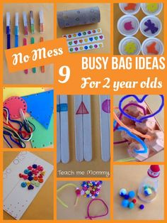 Mess Busy Bag Ideas for 2 Year Olds No Mess Busy Bag Ideas for 2 Year Olds Great for occupying older siblings when the newborn arrives.No Mess Busy Bag Ideas for 2 Year Olds Great for occupying older siblings when the newborn arrives. Toddler Busy Bags, Toddler Play, Toddler Learning, Toddler Activity Bags, Toddler Games, Quiet Time Activities, Infant Activities, Preschool Activities, Family Activities